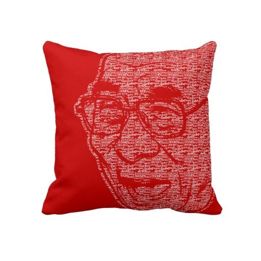 "Laughing Dalia Lama Pillows made of thousands of the word ""disobey"""