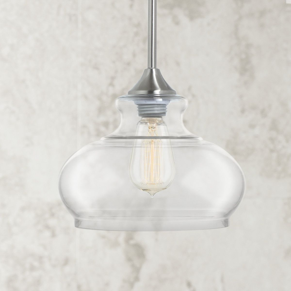 Ariella ovale clear glass pendant lamp brushed nickel brushed ariella ovale clear glass pendant lamp brushed nickel arubaitofo Gallery
