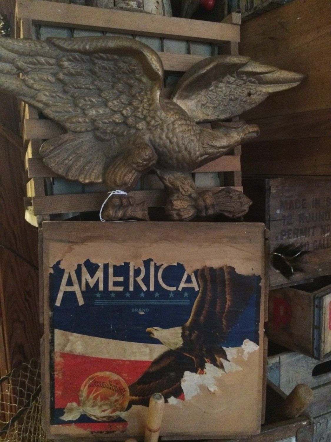 Antique Cast Iron American Eagle Wall Hanging Great For Over