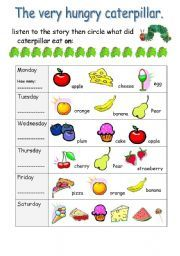 English teaching worksheets: The very hungry caterpillar | english ...