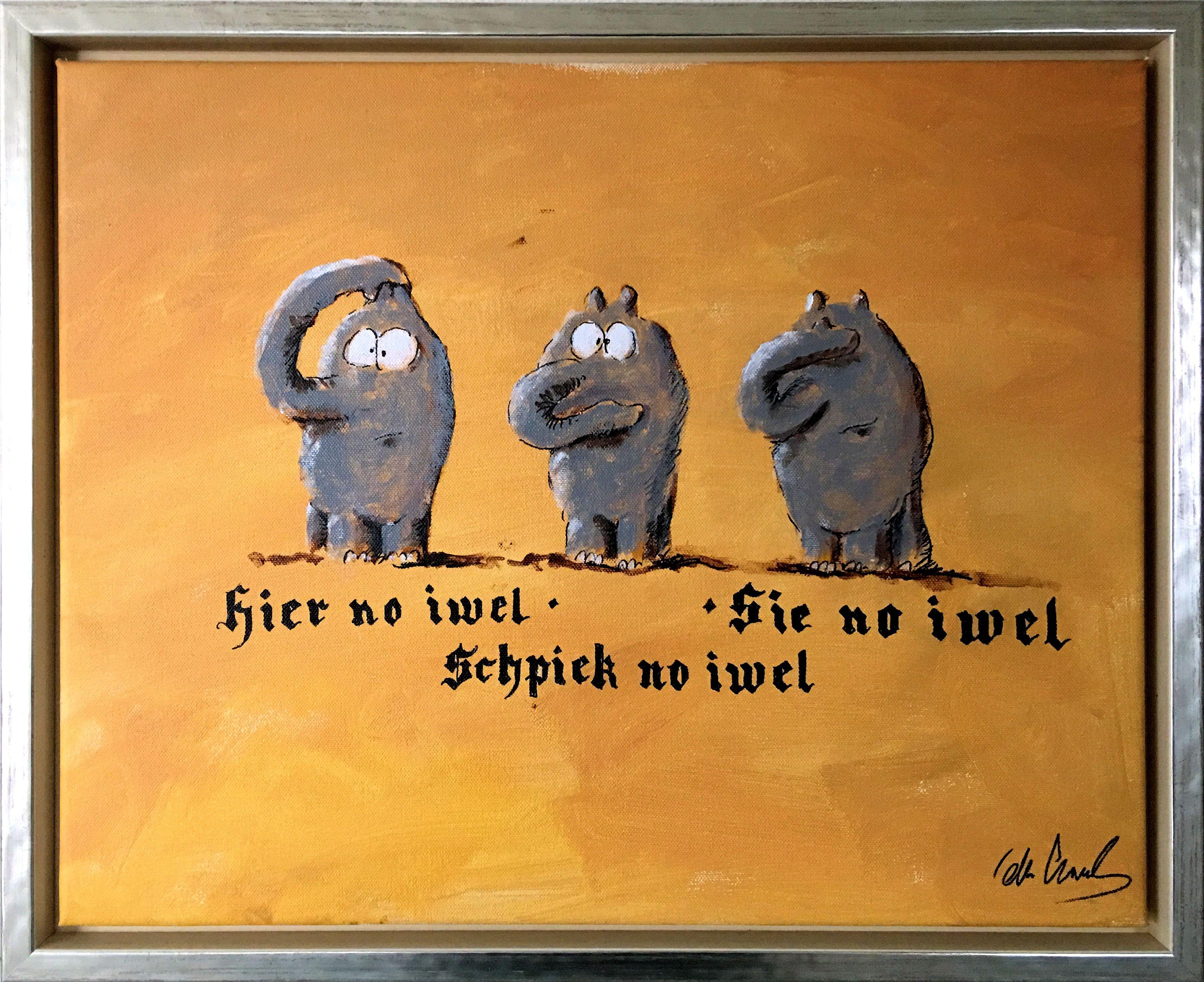 Hier No Iwel Die Beruhmten Drei Affen Als Ottifanten Gemalde Von Otto Waalkes Gemalde Zeichnungen Artpop