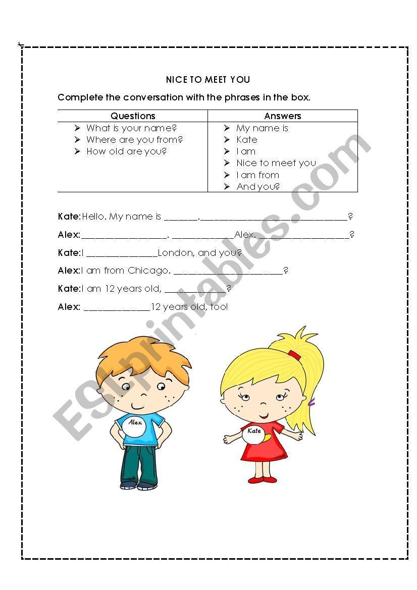 Nice To Meet You Worksheet Nice To Meet Meet You Grammar Worksheets [ 1169 x 826 Pixel ]