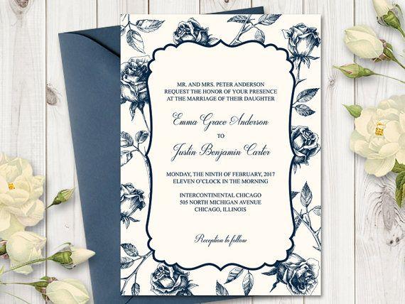 Navy Blue Wedding Invitations Vintage Roses Wedding Invites DIY