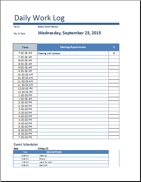 daily work log templates word excel pdf templates templates