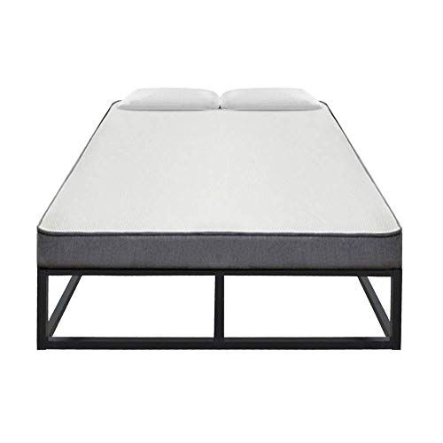 Bling Bling 10 Inch Metal Platform Bed Simple Wooden Slate Basic