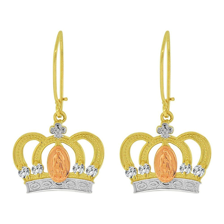 K tricolor gold virgin mary religious tiara crown dangling drop