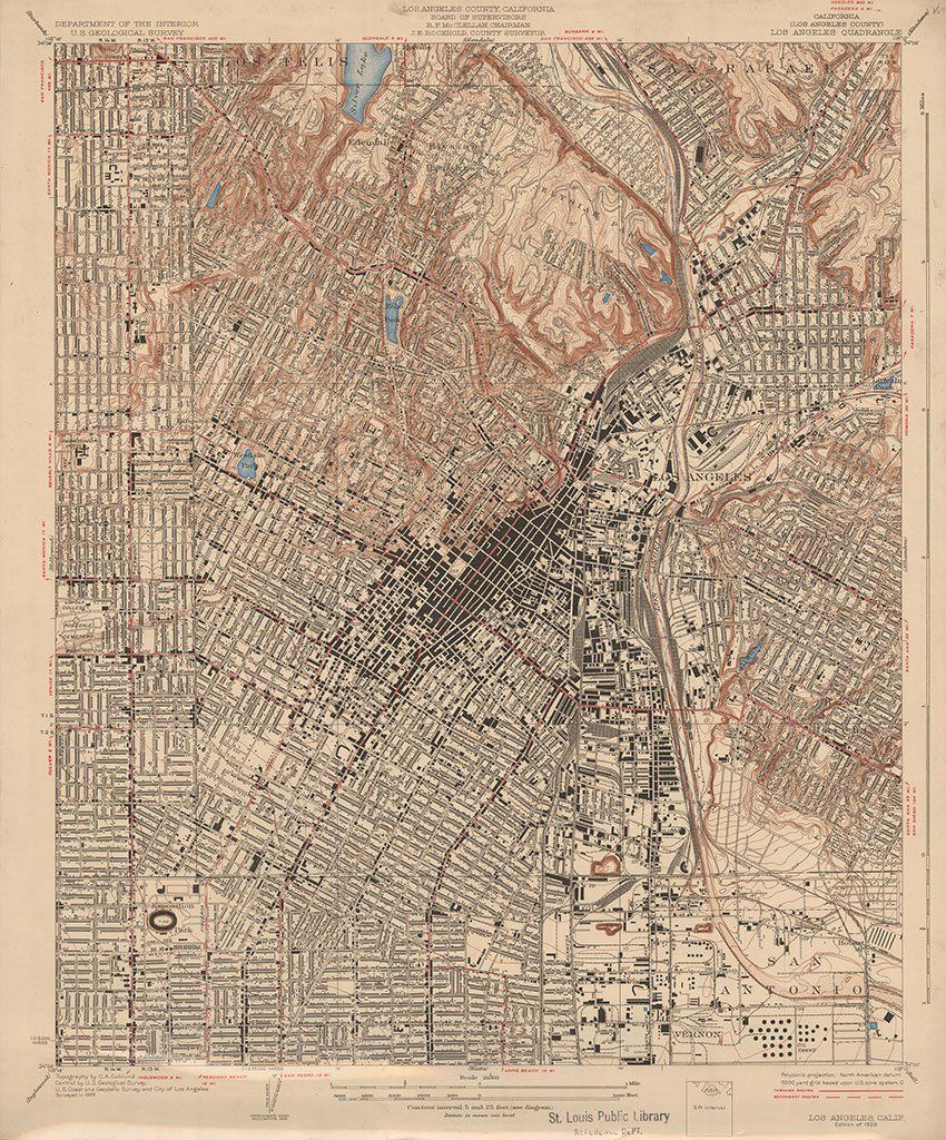 On This Topographic Map Of L A Proper The Los Angeles River