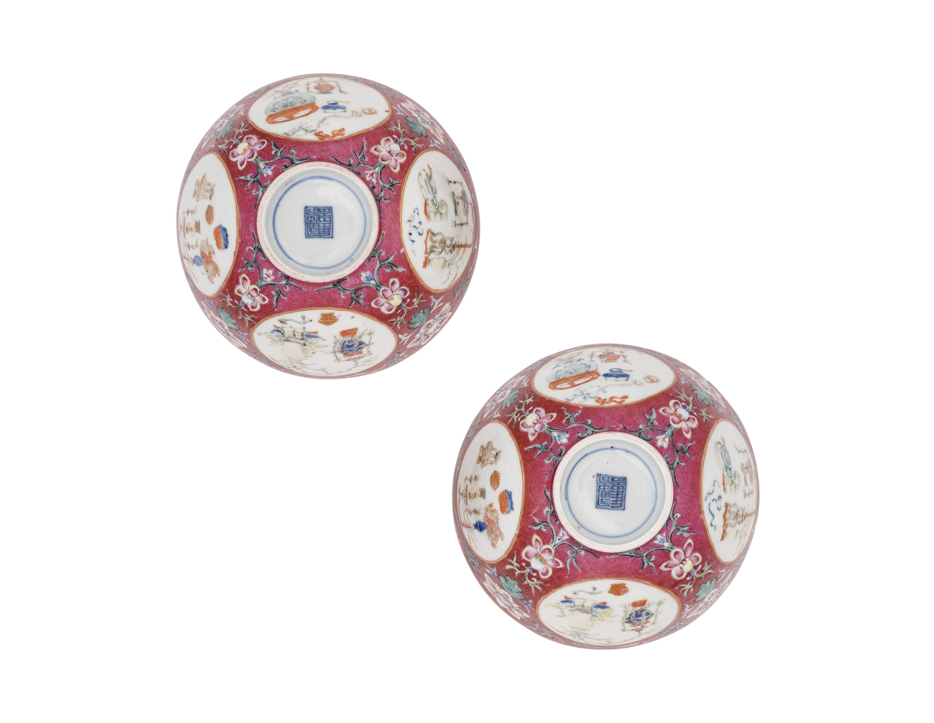 A Pair Of Ruby Ground Medallion Bowls Guangxu Period 1875 1908 Christie S Chinese Antiques Chinese Ceramics Metal Working
