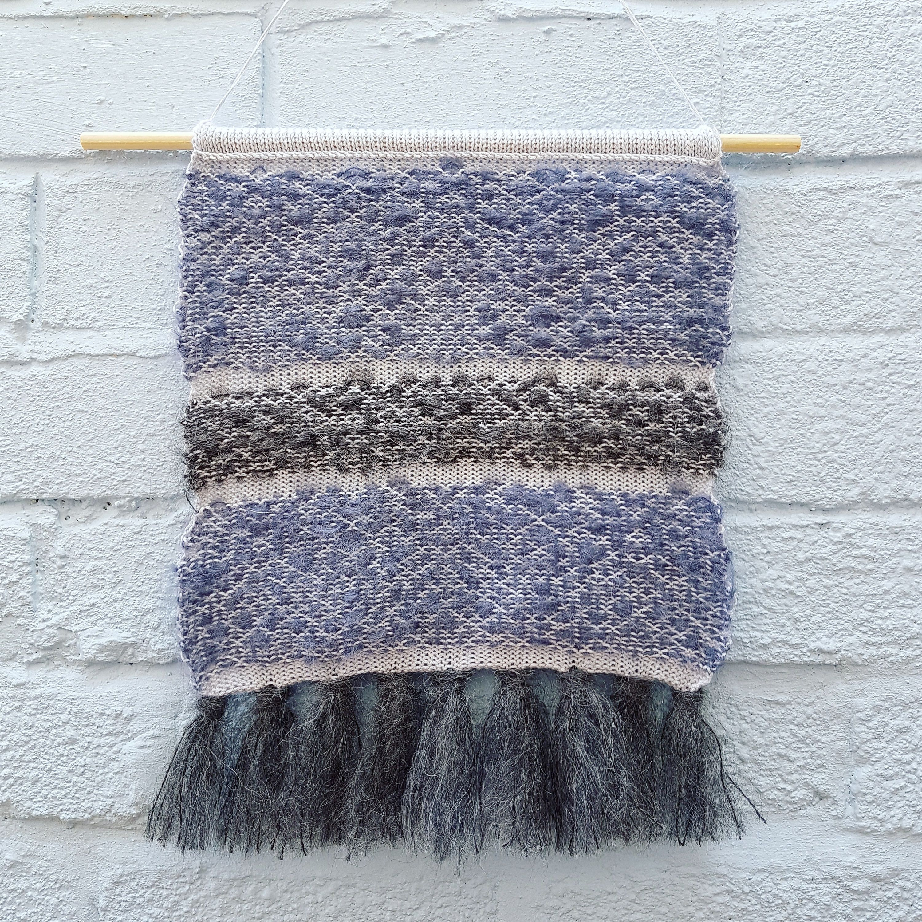 Knitted wall hanging umoody skiesu organic cotton u vintage mohair