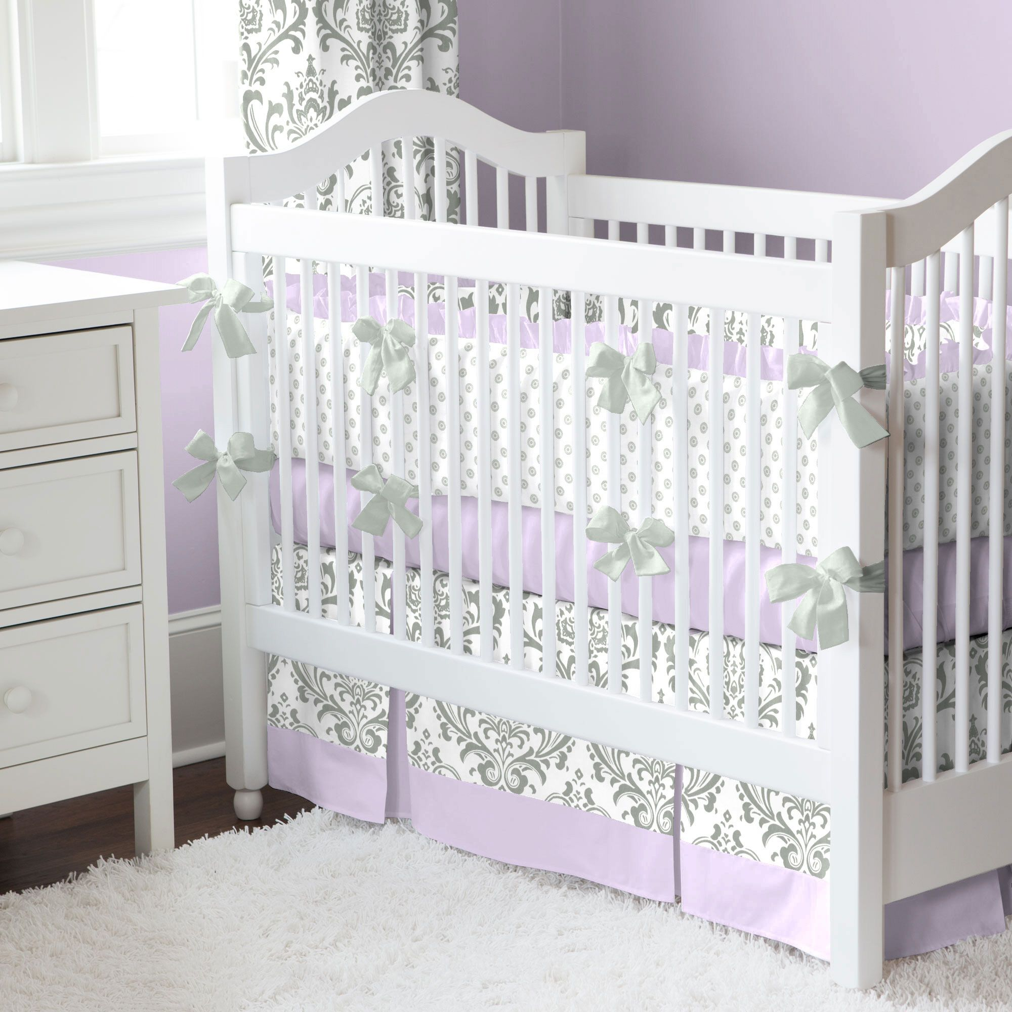 lilac and gray traditions damask nursery collection | baby crib