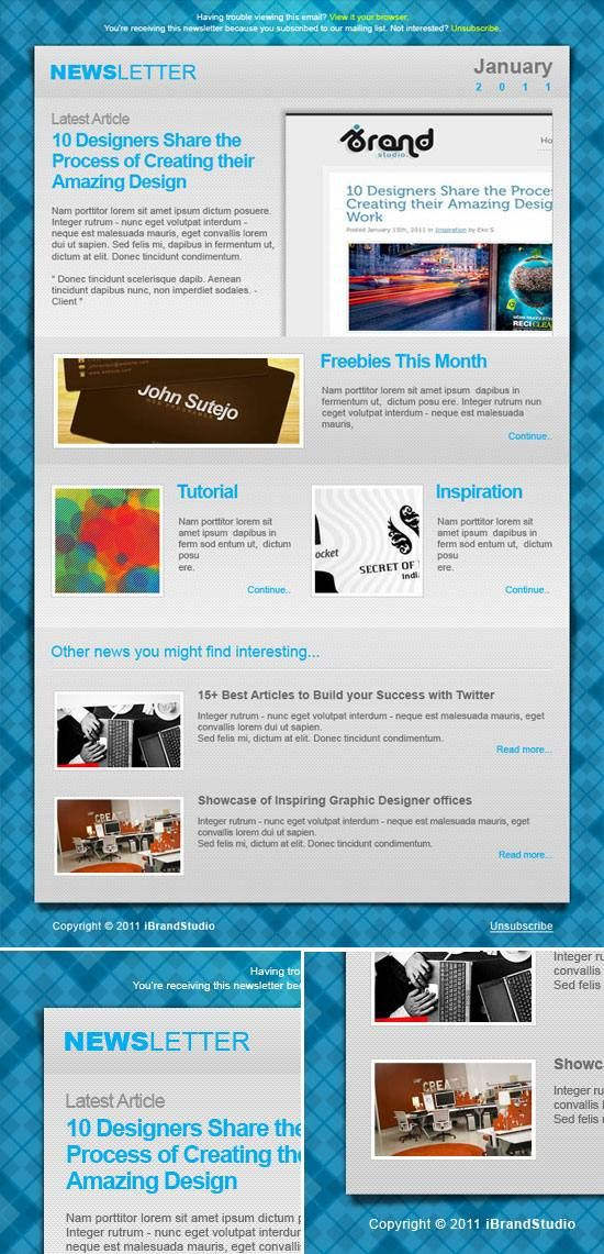 18 Free Psd Email Newsletter Templates For Download Graphic Design