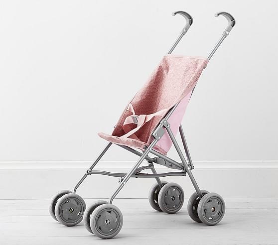 Pink Glitter Umbrella Doll Stroller Baby Doll Acessories