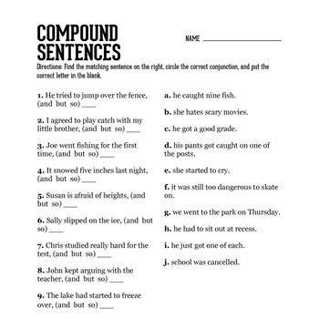 Compound Sentence Practice Compound Sentences Combining