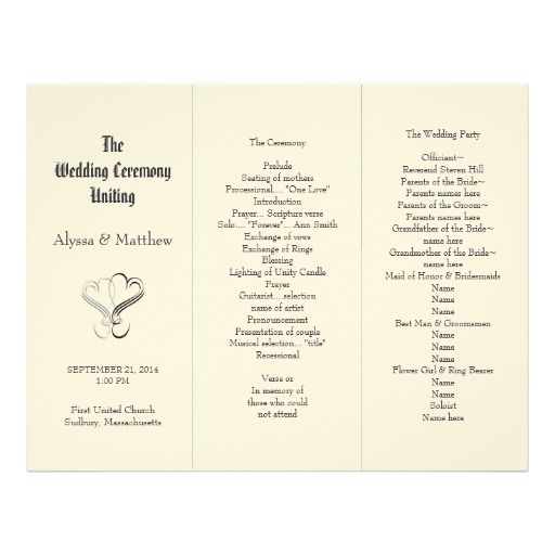 blush tri fold two hearts wedding program template designer