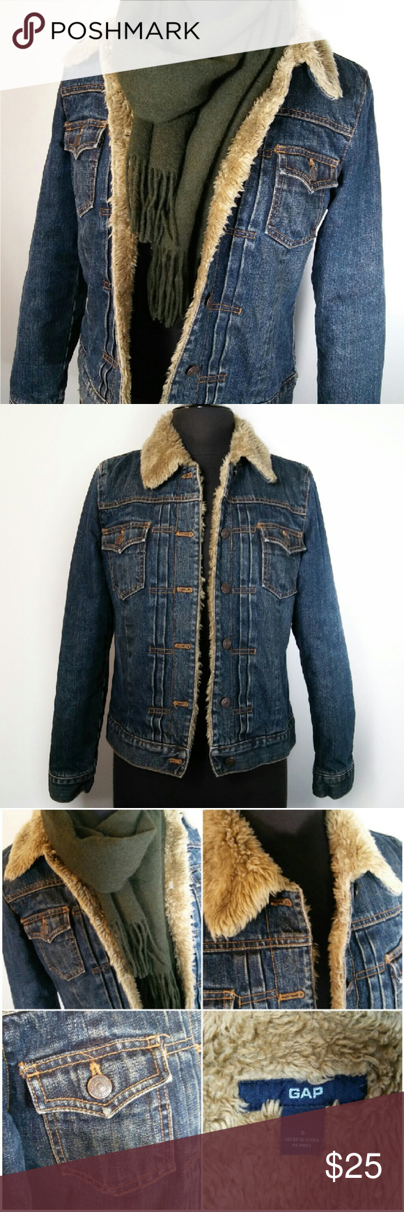 Trendy sherpa lined denim jean jacket welt pocket indigo blue and