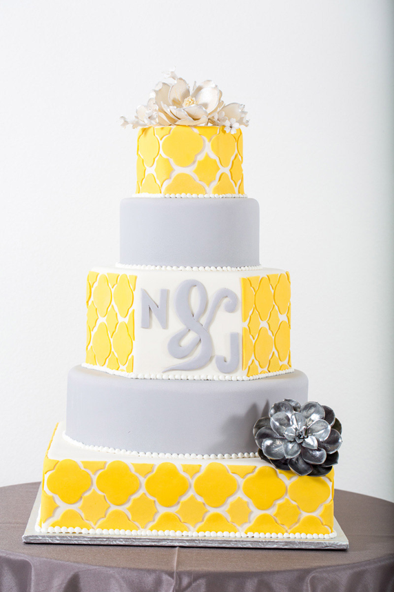 Yellow & Pale Grey Wedding Cake | Wedding Cakes | Pinterest | Grey ...