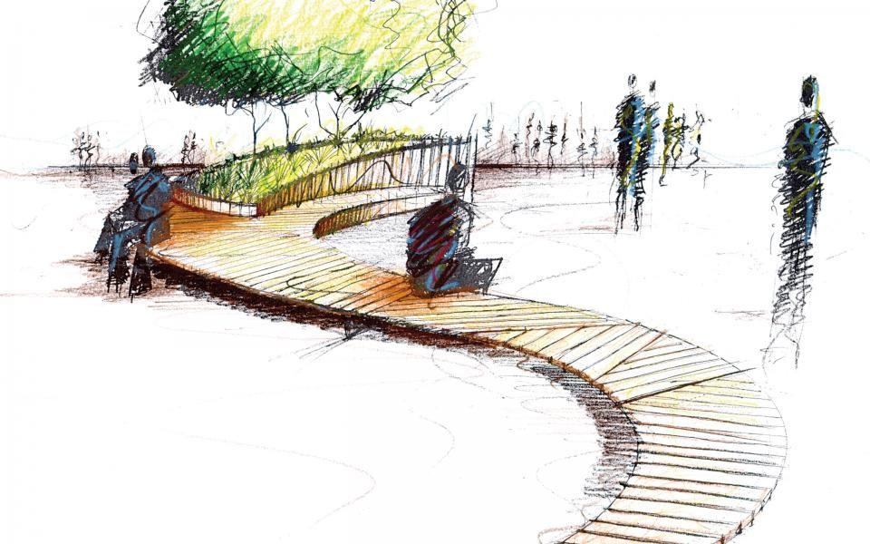 Landscape Architecture Drawing Techniques mor studio, sketch for public realm lemon quay, truro