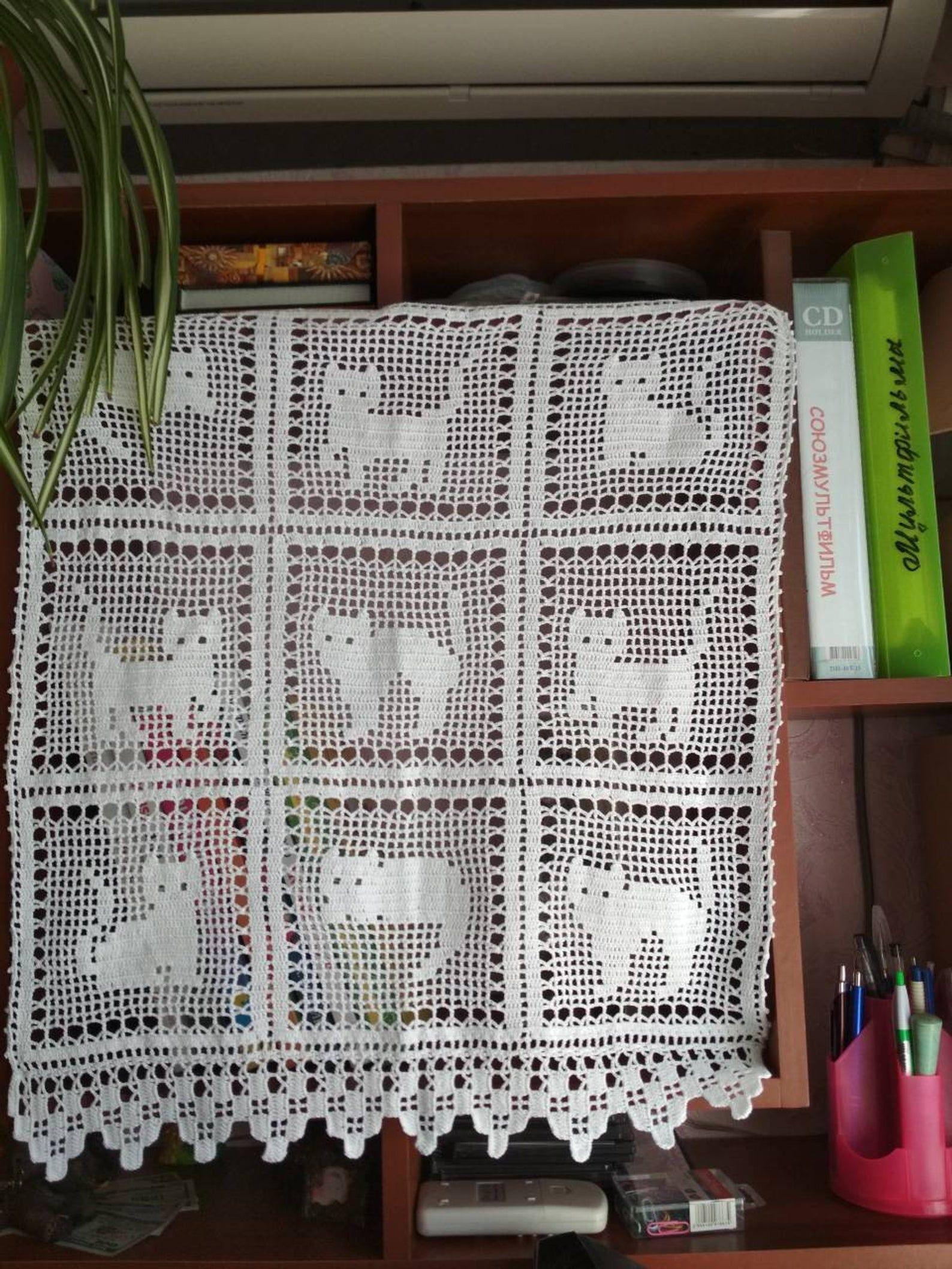 Rideaux au crochet, rideau de coton à la main, rideaux de chat céleste, rideau au crochet en dentelle, crochet fait à la main avec filet FAIT SUR COMMANDE 14 D   – Katzen Tiere