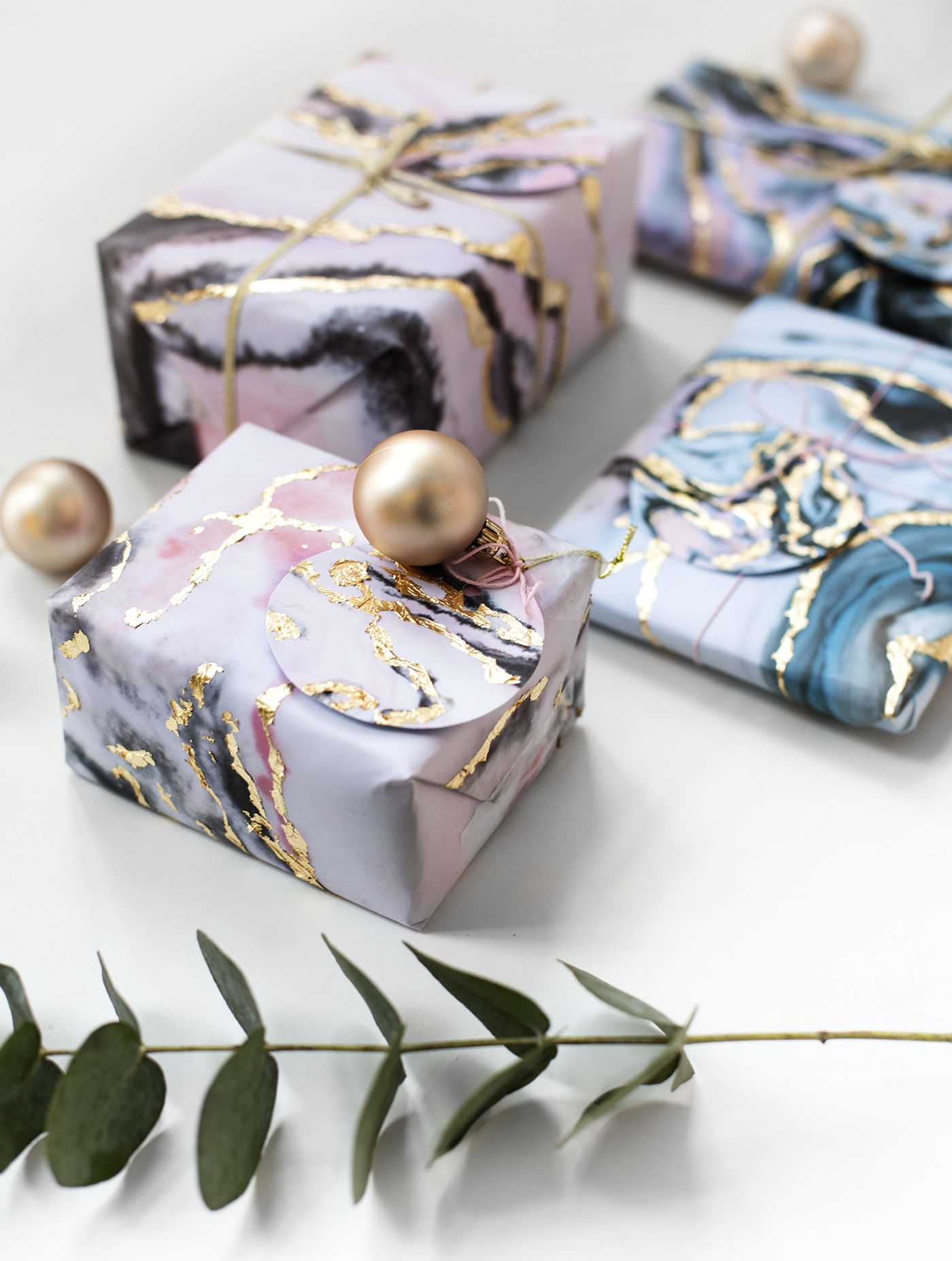 Diy Gift Wrap Tutorial Marble And Gold Leaf Easy So Pretty