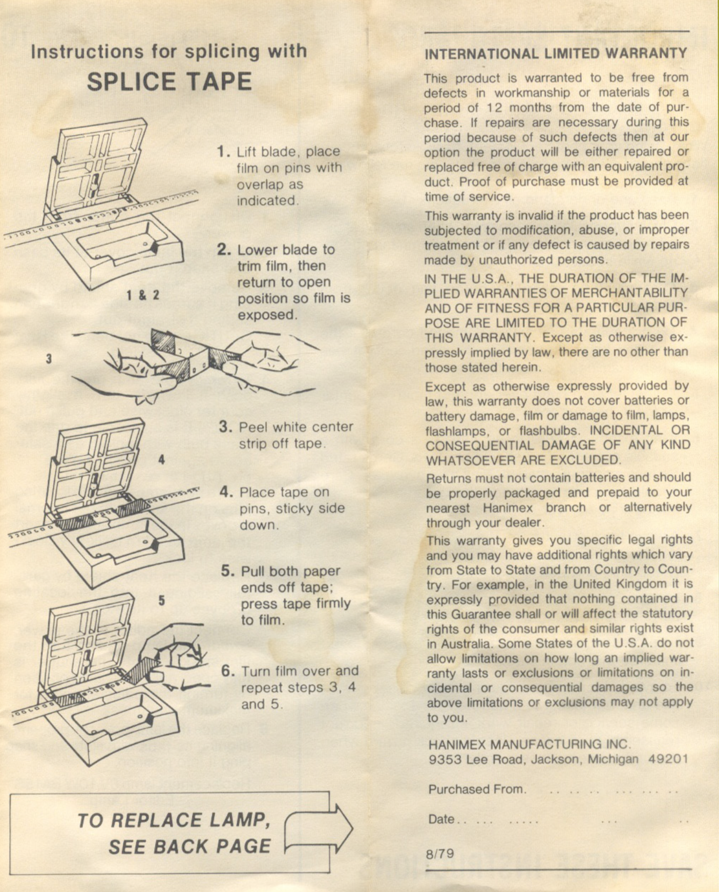 Hanimex D400 Editorviewer Dual Format Manual Page 4 Vintage