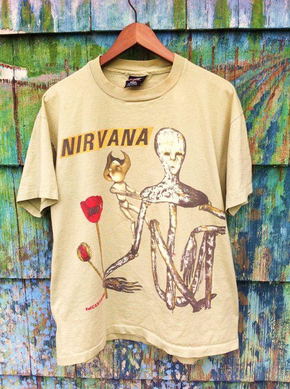 e931f878 Rare Vintage 90's Original Nirvana Incesticide Tour Shirt Made in the USA  XL Grunge Punk Cobain Mudhoney Tad Hole In Utero Nevermind Pixies