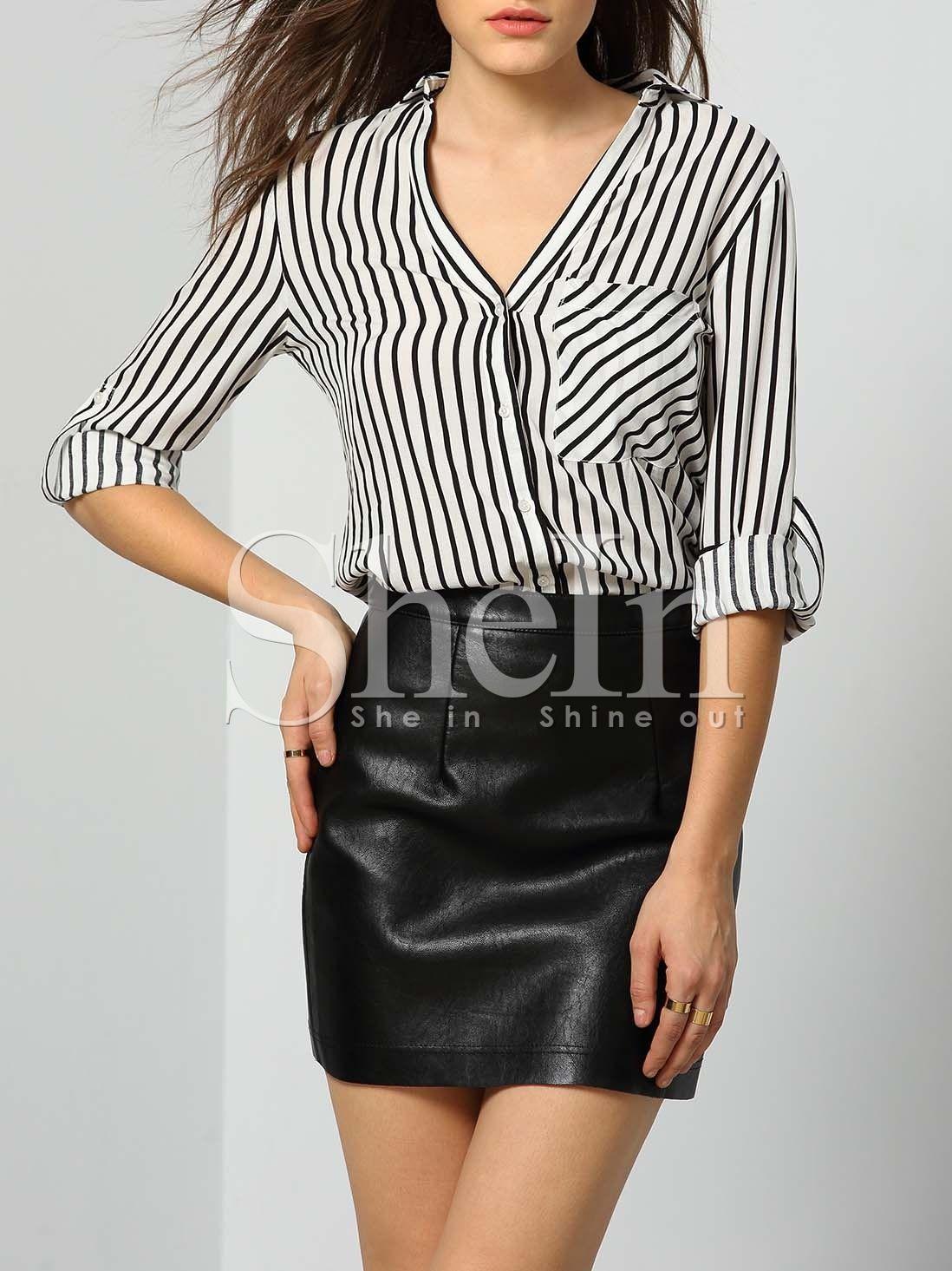 Blusa solapa rayas verticales bolsillos-(Sheinside)