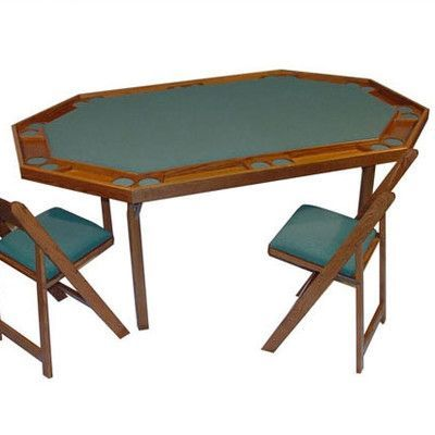 Kestell Furniture Maple Deluxe Folding Card And Poker Table Finish Pecan Upholstery Dark Green Felt Table Home Entertainment Furniture Round Poker Table