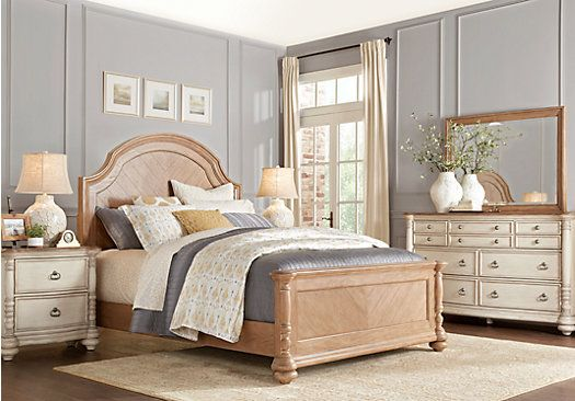 Cindy Crawford Home French Cottage Natural 7 Pc Queen Panel Bedroom Vintage Style Bedroom Furniture Vintage Bedroom Furniture Vintage Bedroom Styles