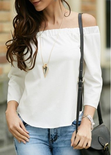 ee91bad336a70f Off the Shoulder White Asymmetric Hem Blouse on sale only US 24.95 ...