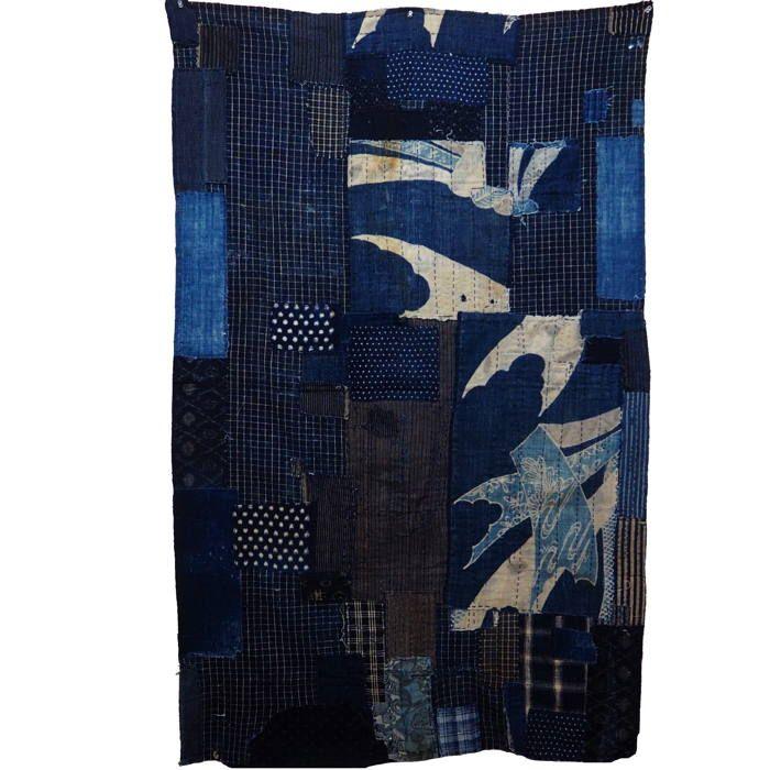 Antique Japanese Boro Indigo Cotton Futon Cover