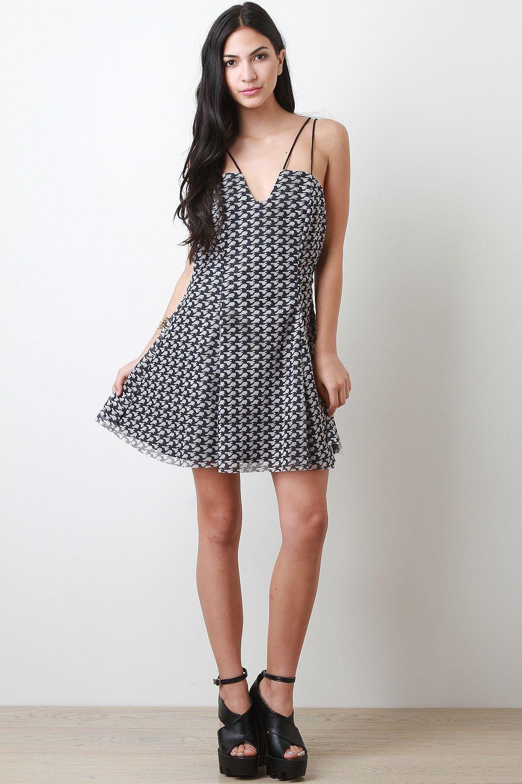 Pattern Mesh Skater Dress