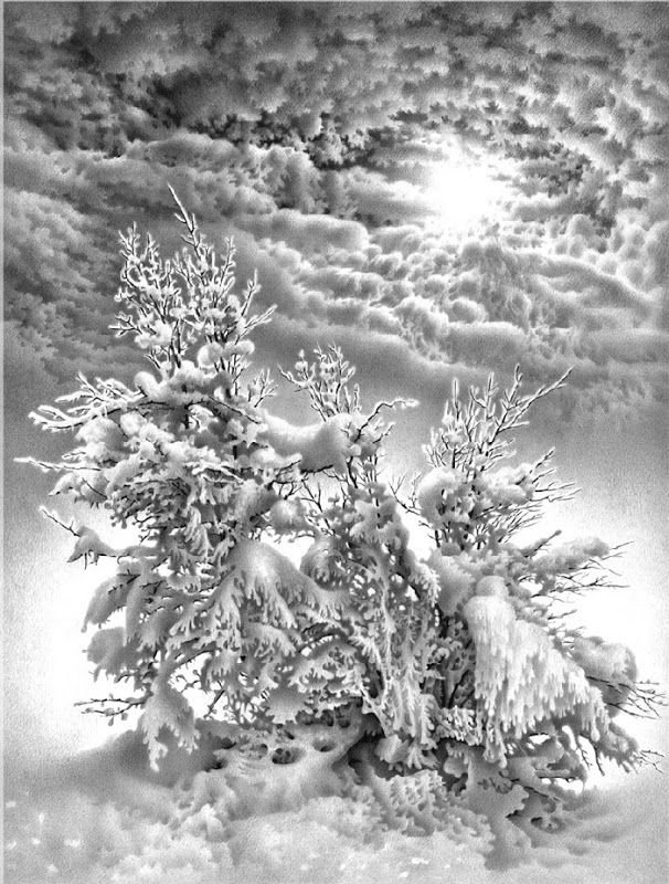 pencil drawings of winter scenes by guram dolenjashvili guram
