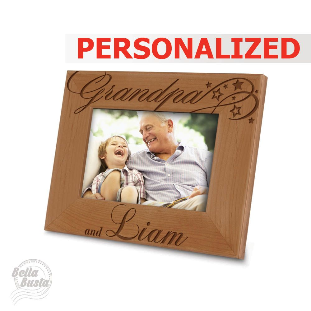 PERSONALIZED-Grandpa and Me Picture Frame - Engraved Natural Wood ...
