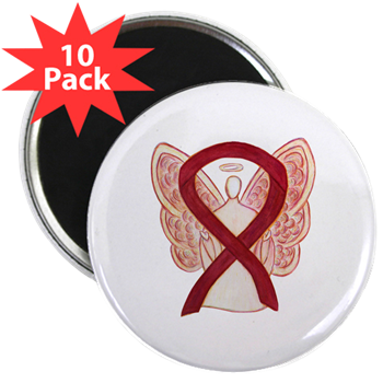 Burgundy Awareness Ribbon Angel Round Refrigerator Magnets (10 Pack)