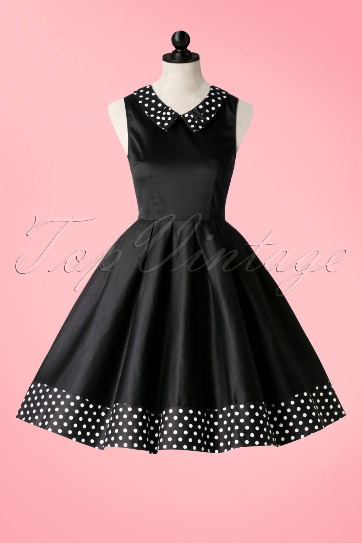 1950s Hazel Polkadot Swing Dress in Black | Lovely Vintage Dresses ...