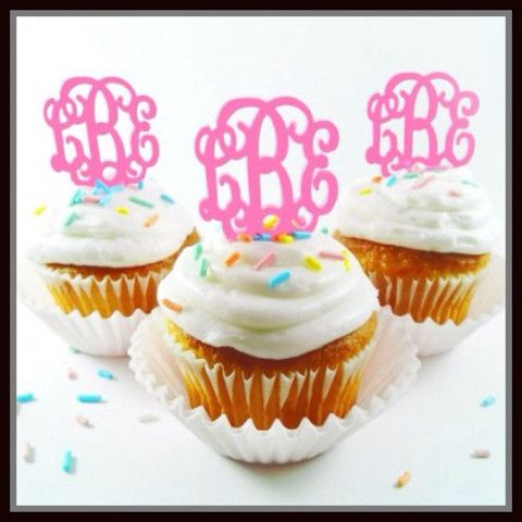 Monogram Cupcake Toppers – The Purple Paisley Boutique
