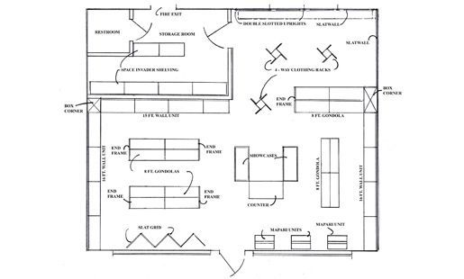 Retail clothing store floor plan the for Floor plan furniture store