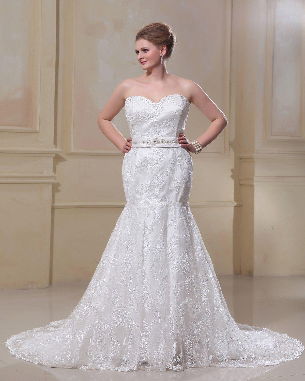 Spitze Weiß Brautkleider Übergröße, Große Größen Hochzeitskleider ...