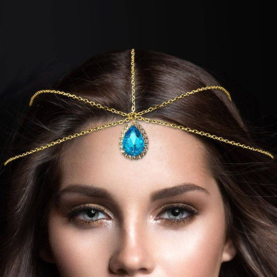 Light Blue Indian Bridal Jewelry Gold Forehead Crystal Headwear Tiara Hair Ac