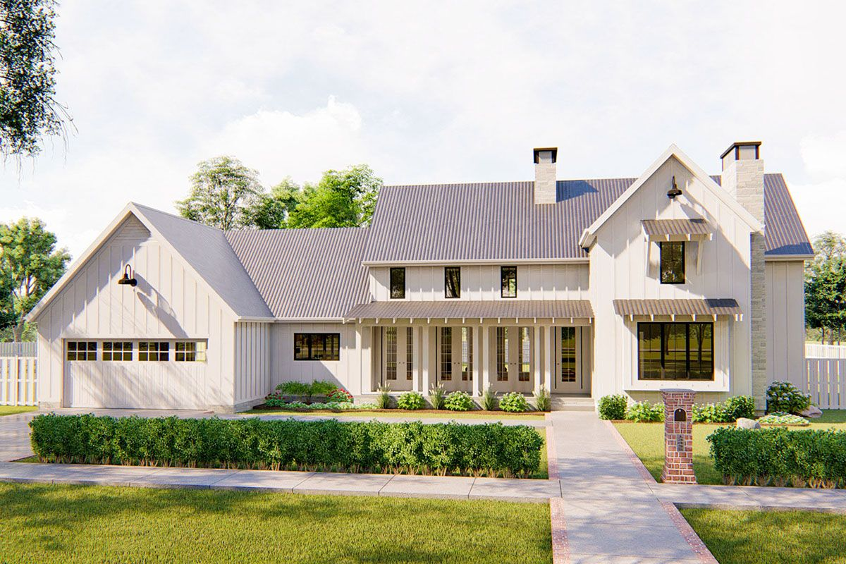Plan 62728dj Classic Farmhouse With Two Story Great Room Modern Farmhouse Plans Farmhouse Plans House Plans Farmhouse