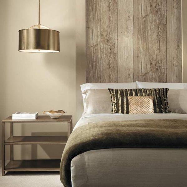 tapete holzoptik schlafzimmer schöner leuchter dekokissen Schatz - tapete für schlafzimmer