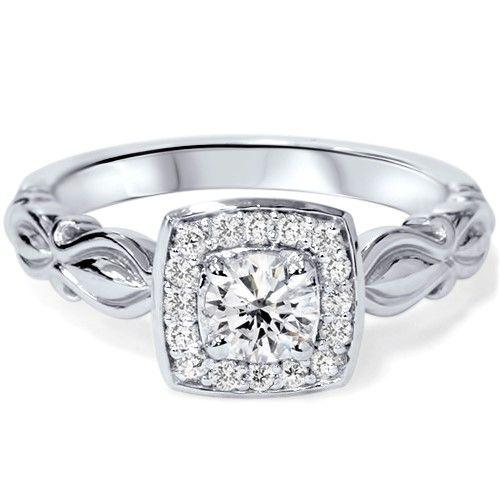 SI 1/2Ct Vintage Cushion Halo Diamond Antique Engagement Ring 14K White Gold | Jet.com