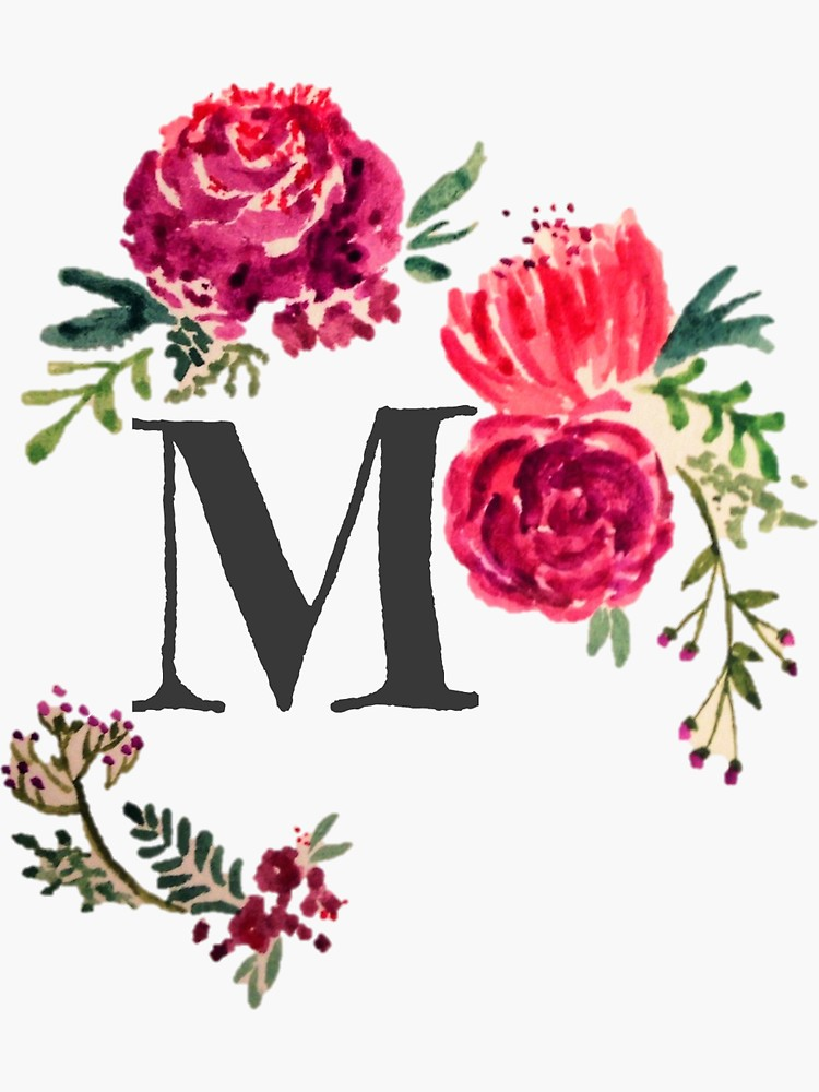 Floral Monogram Watercolor Letter M Sticker by SaraLoone