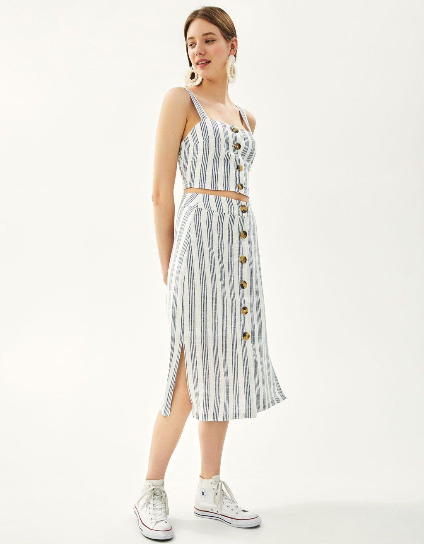 63915ced37 Button-up linen midi skirt