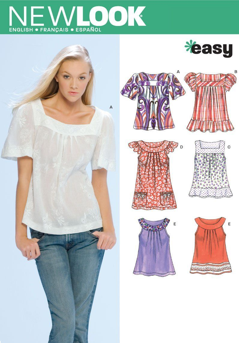 Amazon.com: New Look Sewing Pattern 6705 Misses Tops, Size A (8-10 ...