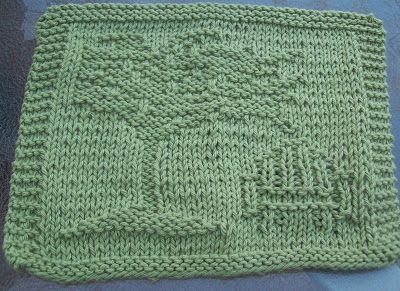 DigKnitty Designs: Shady Tree Knit Dishcloth Pattern