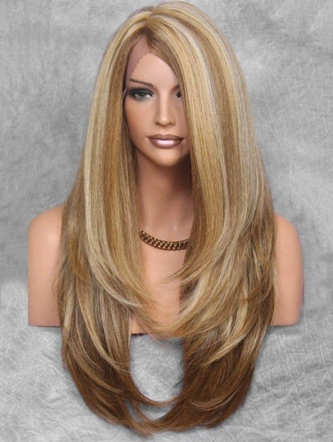 Us 32 57 Ladystar Lace Front Wigs Layered Side Part Long Straight Hair Long Hair Styles Long Straight Hair Long Layered Hair