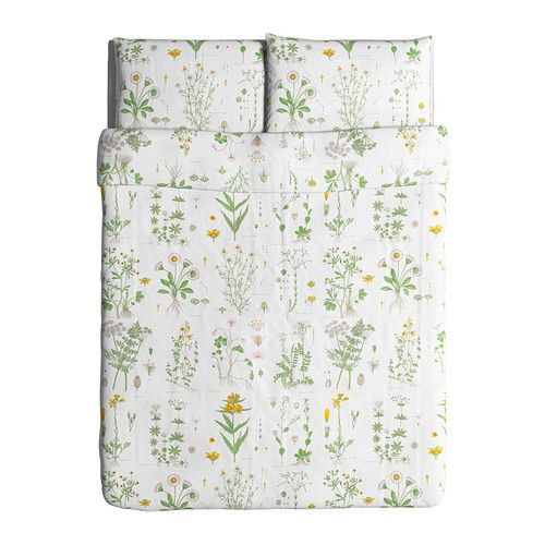 Strandkrypa housse de couette et taie s motif floral for Housse de couette ikea