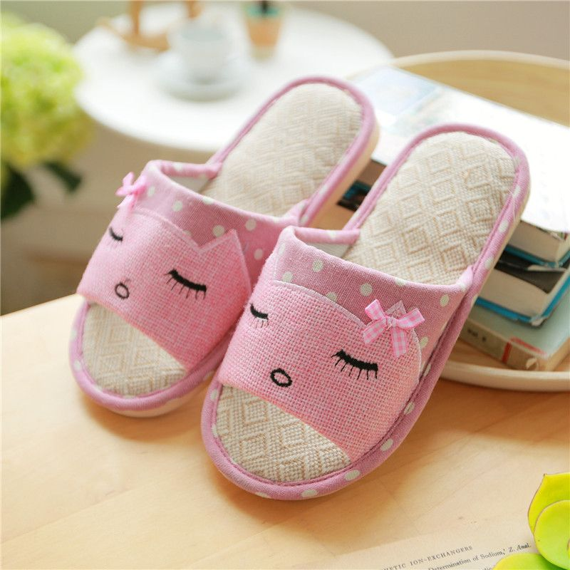 Flax Cute Funny Slippers Women Soft House Shoes Indoor Pantufa ...