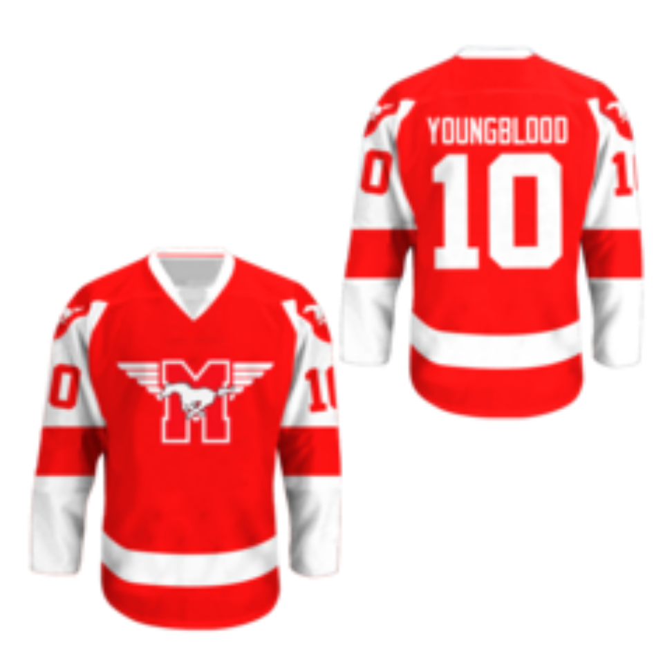 Mustangs Hockey Jersey Youngblood Movie Rob Lowe Sewn New All Sizes Colors Hockey Jersey Jersey Things To Sell